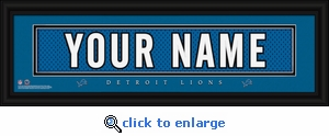 Detroit Lions Personalized Stitched Jersey Nameplate Framed Print