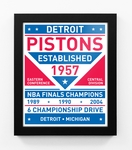 Detroit Pistons Dual Tone Team Sign Print Framed