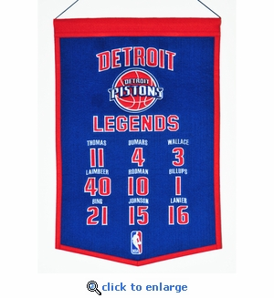 Detroit Pistons Legends Wool Banner  (14 x 22)