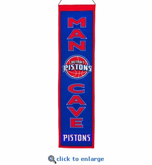 Detroit Pistons Man Cave Wool Banner (8 x 32)