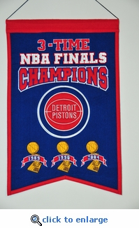 Detroit Pistons NBA Champions Wool Banner (14 x 22)