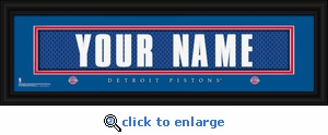 Detroit Pistons Personalized Stitched Jersey Nameplate Framed Print
