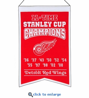 Detroit Red Wings 11-Time Stanley Cup Champions Wool Banner (14 x 22)