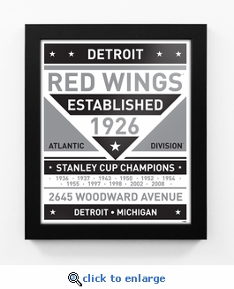 Detroit Red Wings Black and White Team Sign Print Framed