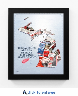 Detroit Red Wings Personalized State of Mind Framed Print - Michigan