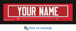 Detroit Red Wings Personalized Stitched Jersey Nameplate Framed Print