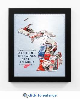 Detroit Red Wings State of Mind Framed Print - Michigan