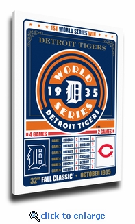 Detroit Tigers 1935 World Series Champions Canvas Print