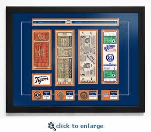 Detroit Tigers 4-Time World Series Champions Tickets to History - Framed Print