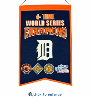 Detroit Tigers 4-Time World Series Champions Wool Banner (14 x 22)