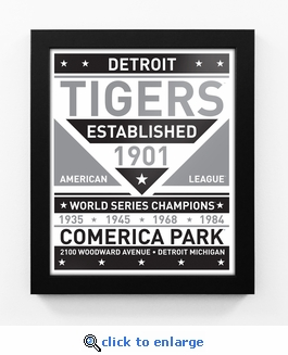 Detroit Tigers Black and White Team Sign Print Framed