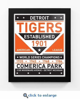 Detroit Tigers Dual Tone Team Sign Print Framed