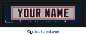 Detroit Tigers Personalized Stitched Jersey Nameplate Framed Print