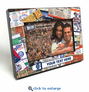 Detroit Tigers Personalized Ticket Collage Black Wood Edge 4x6 inch Picture Frame