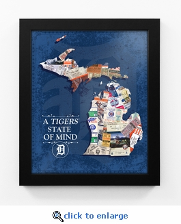 Detroit Tigers State of Mind Framed Print - Michigan