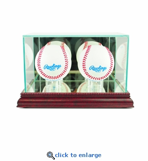 Double Baseball Display Case - Cherry