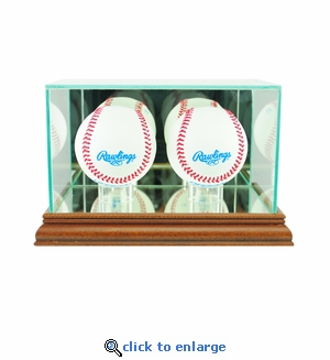 Double Baseball Display Case - Walnut