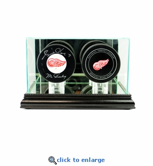 Double Hockey Puck Display Case - Black