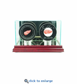 Double Hockey Puck Display Case - Cherry