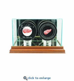 Double Hockey Puck Display Case - Walnut