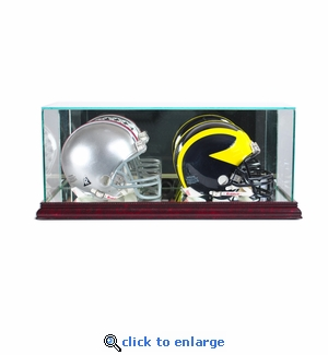 Double Mini Football Helmet Display Case - Cherry