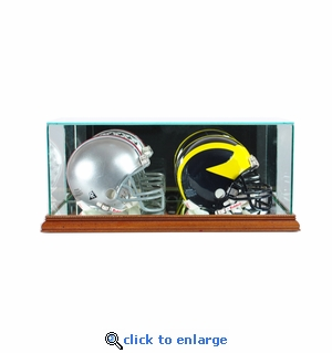 Double Mini Football Helmet Display Case - Walnut