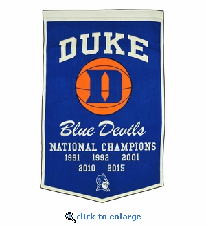 Duke Blue Devils National Champions Dynasty Wool Banner (24 X 36)