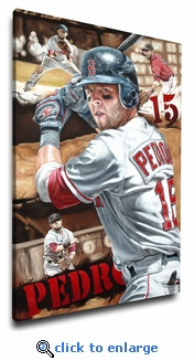 Dustin Pedroia - Determination - 12x18 Art Reproduction on Canvas by Justyn Farano - Red Sox