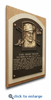 Earl Weaver Baseball Hall of Fame Plaque on Canvas - Baltimore Orioles