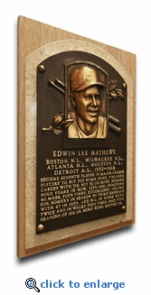 Eddie Mathews Baseball Hall of Fame Plaque on Canvas - Milwaukee Braves