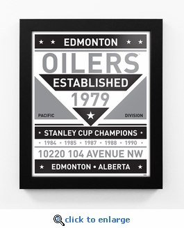 Edmonton Oilers Black and White Team Sign Print Framed