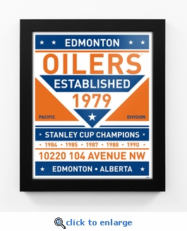 Edmonton Oilers Dual Tone Team Sign Print Framed