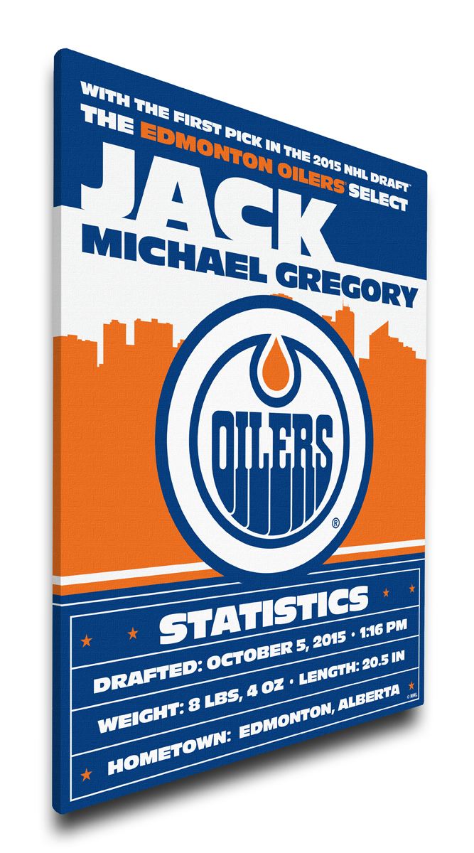 Edmonton oilers personalized canvas birth announcement baby gift negle Image collections