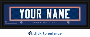 Edmonton Oilers Personalized Stitched Jersey Nameplate Framed Print