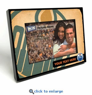 Edmonton Oilers Personalized Vintage Style Black Wood Edge 4x6 inch Picture Frame