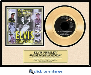 Elvis Presley - Are You Lonesome Tonight Framed Gold Record w/ Stamp Sheet, LE 1,960