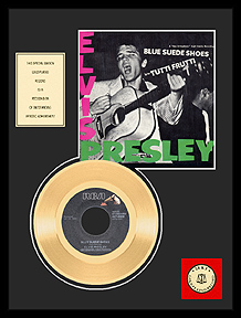 Elvis Presley - Blue Suede Shoes Framed Gold Record (pink/green text sleeve)