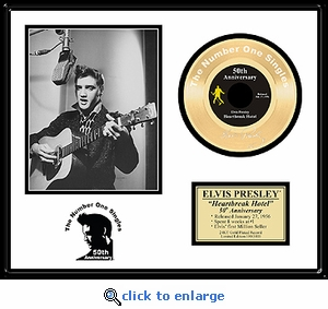 Elvis Presley - Heartbreak Hotel 50th Anniversary Framed Gold 45, LE 5,000