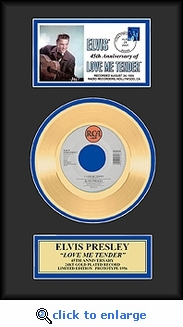 Elvis Presley - Love Me Tender Framed Gold Record w/cachet Gold 45, Ltd 1,956