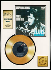 Elvis Presley - Suspicious Minds Framed Gold Record (black leather jacket sleeve)