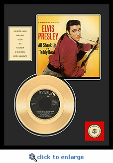 Elvis Presley - Teddy Bear Framed Gold Record (red shirt/yellow background)