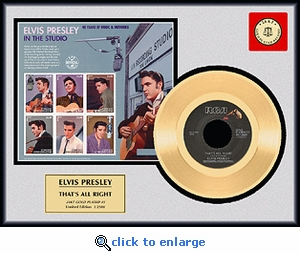 Elvis Presley - That's All Right Framed Gold Record w/ Stamp Sheet, LE 2,500