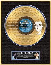 Elvis Presley - The Number One Hits Framed Etched Gold Record, LE 2,500