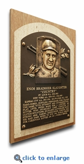 Enos Slaughter Baseball Hall of Fame Plaque on Canvas - St Louis Cardinals