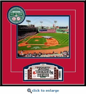 Fenway Park 100th Anniversary Game 8x10 Photo Ticket and Frame - Boston Red Sox