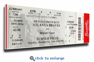 Final Game at Turner Field Canvas Mega Ticket - Atlanta Braves