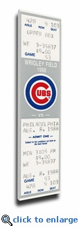 First Night Game at Wrigley Field (8/8/88) Canvas Mega Ticket - Chicago Cubs