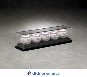Five Baseball Rectangular Acrylic Display Case with Formed Base