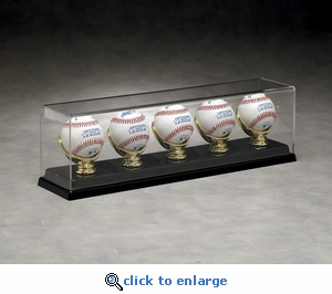 Five Baseball Rectangular Acrylic Display Case with Gold Glove Holders and Formed Base