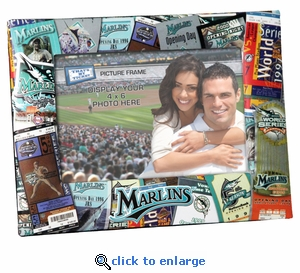 Florida Marlins Padded Front 4x6 Picture Frame - Ticket Collage Design
